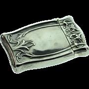SALE Sterling Silver Antique Art Nouveau Match Safe with Strike Bottom