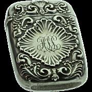 SALE Sterling Silver Art Nouveau Antique Starburst Match Safe Vesta   Monogrammed HLL