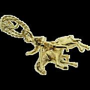 14K 3D Don Quixote On Horseback Charm/Pendant Yellow Gold