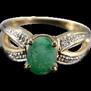 SALE 10K 1.29 Ctw Emerald & Diamond Split Shank Ring Size 6 Yellow Gold