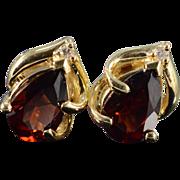 SALE 14K 2.50 CTW Garnet Diamond Stud Earrings Yellow Gold