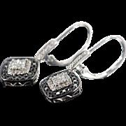 SALE 14K 0.85 CTW Black & White Dangle Earrings White Gold