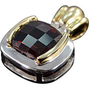 14K 4.26 CTW Faceted Garnet Diamond Two Tone Pendant Yellow/White Gold