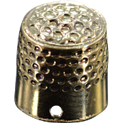 SALE 14K Miniature Thimble 3D Charm/Pendant Yellow Gold