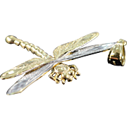 SALE 14K Dragonfly Detailed Two Tone Charm/Pendant Yellow/White Gold