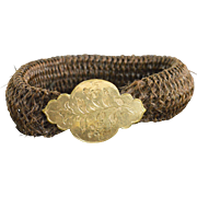 Gold FIlled Engraved Woven Hair Bracelet