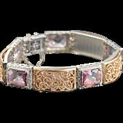 "14K 32 Ctw Pink Tourmaline Rose Gold Accent Designer Bracelet 7.5"" White Gold"