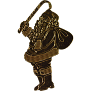 SALE 10K Delicate Santa Claus With Candy Cane Charm/Pendant Yellow Gold