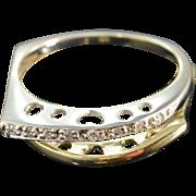 SALE 14K 0.08 Ctw Diamond Offset Two Tone Ring Size 6.5 Yellow/White ...