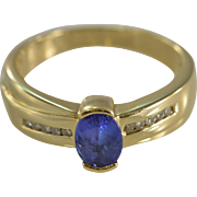 SALE 14K 0.85 Ctw Tanzanite Diamond Pressure Set Ring Size 8 Yellow Gold