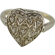 SALE 14K Antique 0.09 Ctw Diamond Heart Filigree Ring Size 7.75 White Gold