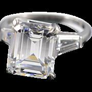 SALE Platinum 12x10mm Cubic Zirconia & 1.00 CTW Diamond Side Baguettes Engagement Ring - Size