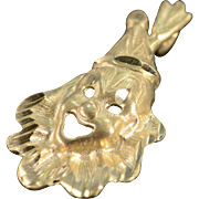 SALE 14K Diamond Cut Clown Charm/Pendant Yellow Gold