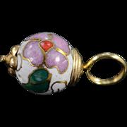 10K Vintage Asian Cloisonne Floral Bead Charm/Pendant Yellow Gold
