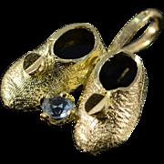 SALE 14K Blue Stone Diamond Cut Baby Shoes Charm/Pendant Yellow Gold