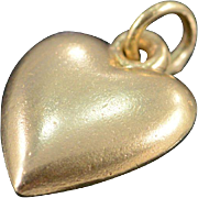 SALE 10K Simple Puffy Heart Charm/Pendant Yellow Gold