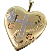 SALE 14K Gold Filled Religious Etched Cross Heart Photo Locket Pendant