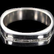 Platinum 1.40 CTW G/VS Emerald Cut Diamond Inset Wedding Band Heavy Ring - Size ...