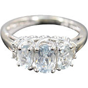 14K 2.08 CTW Aquamarine Diamond Oval Fancy Setting Ring - Size 7 / White Gold