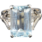 14K Antique 8 CT Aquamarine 8.15 CTW Diamond Ring - Size 7.25 / White Gold