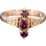 SALE 10K Victorian 0.40 CTW Red Ruby Ring - Size 6.25 / Yellow Gold