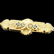 SALE Gold Filled Victorian Black Enamel Mourning Pin/Brooch