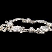 "SALE Sterling Silver Georg Jensen Tulip Link #11 Bracelet 8"""