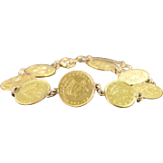 "SALE 14K (8) $1.00 US Coin Love Token Engraved Bracelet 6.5"" Yellow Gold"