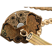 "SALE 14K Victorian Black Enameled Carved Watch Fob  17.25"" Yellow Gold"