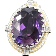 SALE 14K Victorian 14.15 CTW Oval Amethyst Diamond Seed Pearl Pendant White Gold