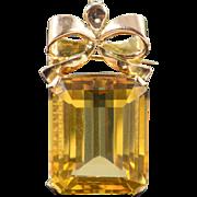 SALE 10K 39 CT Citrine Ribbon Pendant/Pin Yellow Gold