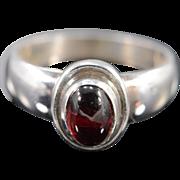 Sterling Silver Georg Jensen Cabochon Rhodolite Garnet Ring - Size 5.5 /