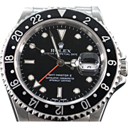SALE Rolex Black Face Stainless GMT Master II