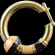 "SALE 14K Large Black & Tan Enamel Hoop 1.25"" Earrings Yellow Gold"