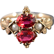 SALE 14K Victorian Red Glass Seed Pearl Ring - Size 5 / Yellow Gold