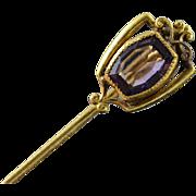 SALE 10K Victorian 1.00 CT Amethyst Stick Pin Yellow Gold
