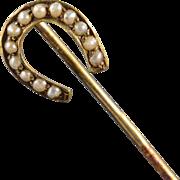 SALE 14K Victorian Horseshoe Seed Pearl Stick Pin Yellow Gold
