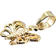 SALE 14K Delicate Butterfly Charm/Pendant Yellow Gold