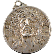 SALE Sterling Silver Vintage Detailed Jesus Crown Pendant