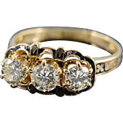 18K 1.50 CTW N / VS Antique Diamond & Black Enamel Ring - Size 8.75 / Yellow ...