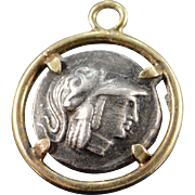 SALE 10K Vintage Tribute Ancient Greek Style Coin Medallion Charm/Pendant Yellow Gold