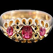 SALE 9K Vintage 0.50 CTW Rubellite Tourmaline British Ring - Size 5.75 / Yellow Gold
