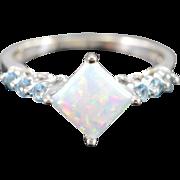 SALE 10K Imitation Opal & Sky Blue Topaz Ring White Gold