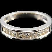 SALE 14K 1.50 CTW Princess Cut Diamond Channel Set Wedding Band Ring - Size 7 ...