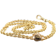 """SALE Gold Filled Antique Loose Link Heart Watch Fob Necklace 31"""""""