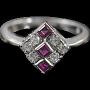 18K Art Deco 0.45 CTW Diamond Ruby Ring - Size 6 / White Gold