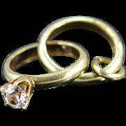 SALE 14K Miniature Engagement Ring/Wedding Band Charm/Pendant Yellow Gold