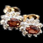 SALE 10K 0.50 CTW Garnet Diamond Halo Stud Earrings Yellow Gold
