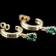 SALE 14K 0.80 CTW Tsavorite Garnet & Diamond Dangle Cuff Earrings Yellow Gold