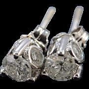SALE 14K 1.00 CTW Diamond Stud Earrings White Gold